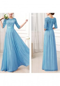 Light Blue Patchwork Lace Pleated High Waisted Half Sleeve Flowy Chiffon Bridesmaid Maxi Dress