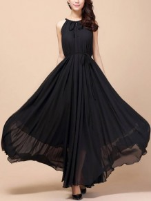 Black Belt Round Neck Bohemian Ladies Big Swing Chiffon Formal Gowns Maxi Dress