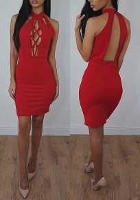 Red Plain Hollow-out Cut Out Round Neck Mini Dress