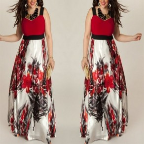 Multicolor Patchwork Flowers Print Draped A-line V-neck High Waisted Party Maxi Dress