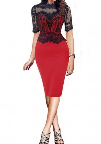 Red-Black Patchwork Lace Hollow-out Zipper Half Sleeve Plus Size Midi Dress