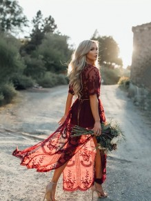 Burgundy Floral Chain Lace Flowy Side Slit Deep V-neck Boho Beach Maxi Dress