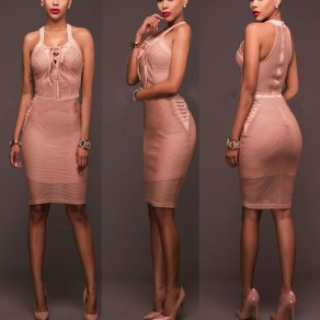 Pink Plain Zipper Hollow-out Lace-up Sleeveless V-neck Bodycon Midi Dress