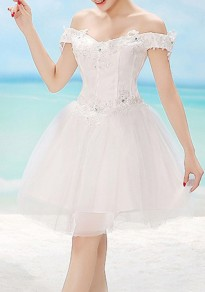 White Patchwork Lace With Rhinestones Off Shoulder Elegant Tulle Tutu Mini Dress