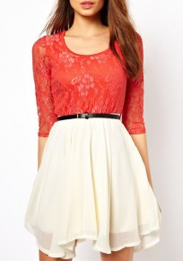 Red Patchwork Lace Elbow Sleeve Fashion Mini Dress