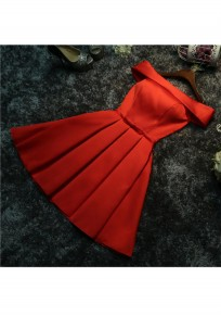 Red Pleated Zipper Bow Boat Neck Fashion Mini Dress
