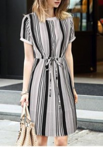 White Striped Drawstring Round Neck Short Sleeve Fashion Midi Dress