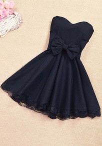 Black Patchwork Lace Bow Bandeau Bridesmaid Mini Dress