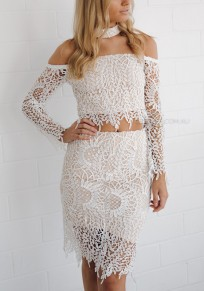 White Lace 2-in-1 Long Sleeve Fashion Midi Dress