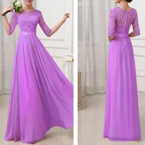 Purple Lace Hollow-out Grenadine A-line Half Sleeve High Waisted Chiffon Maxi Dress