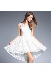 White Patchwork Lace Pleated High-low Skater High Waisted Graduated Homecoming Party Midi Dress
