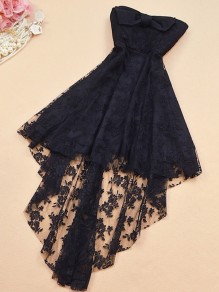 Black Patchwork Lace Bow Embroidery Bandeau High-low Midi Dress