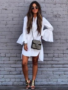 White Ruffle Irregular Single Breasted Flare Sleeve High-low Blouse Midi Dress