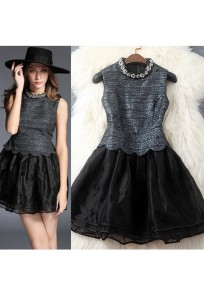 Black Patchwork Rhinestone Grenadine Ruffle Buttons Fashion Mini Dress