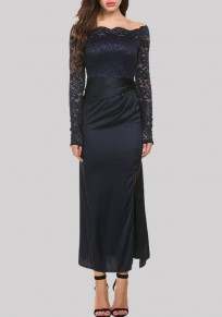 Navy Blue Patchwork Lace Hollow-out Zipper Off Shoulder Side Slit Maxi Dress