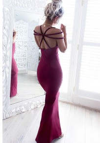 Wine Red Bandage Backless Cocktail Party Mermaid Round Neck Maxi Dress