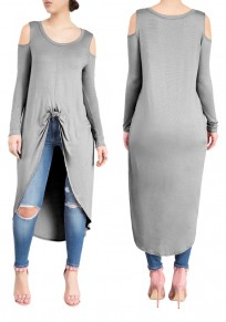 a8add8a25e9c Grey Swallowtail Cut Out Off-shoulder High-low Long Sleeve Casual Midi Dress