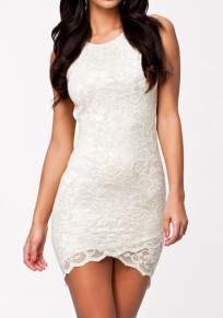 White Patchwork Lace Grenadine Backless Round Neck Mini Dress