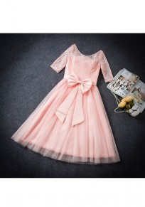 Pink Patchwork Hollow-out Lace Bow Zipper Fashion Midi Dress