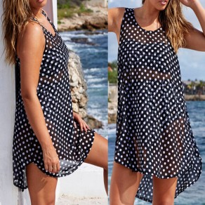 Black-White Polka Dot Print Irregular High-low See-through Plus Size Mini Dress