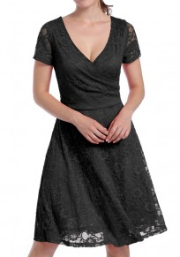 Black Lace Zipper Deep V-neck Short Sleeve Elegant Midi Dress