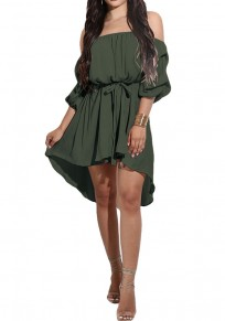 Army Green Belt High-low Off Shoulder Long Sleeve Mini Dress