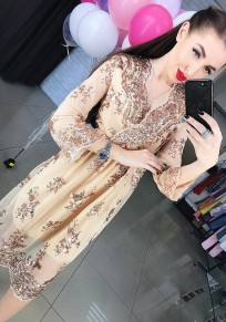 Golden Patchwork Lace Hollow-out Grenadine Sequin Midi Dress