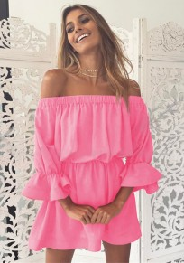 Pink Ruffle Boat Neck 3/4 Sleeve Fashion Mini Dress