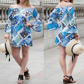 Blue Geometric Print Off Shoulder Flare Sleeve Bohemian Mini Dress