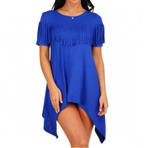 Blue Irregular Tassel Draped Round Neck Short Sleeve Elegant Midi Dress