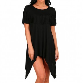 Black Irregular Tassel Draped Round Neck Short Sleeve Elegant Midi Dress