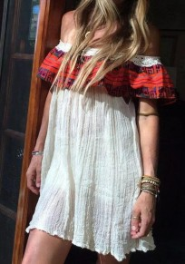 White Patchwork Lace Draped Embroidery Ruffle Off Shoulder A-line Mexican Bohemian Mini Dress