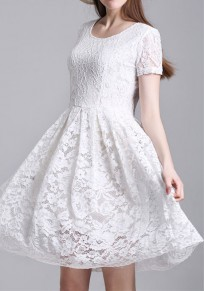 White Patchwork Lace Hollow-out Pleated Round Neck Elegant Mini Dress