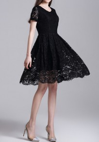 Black Patchwork Lace Hollow-out Pleated Round Neck Elegant Mini Dress