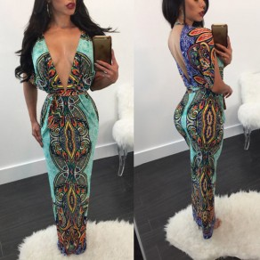 Blue Tribal Floral Print Sashes Cleavage Half Sleeve Vintage Maxi Dress