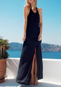 Black Backless Halter Neck Round Neck Maxi Dress