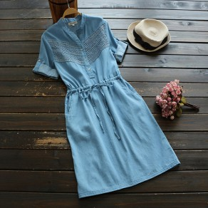 Blue Drawstring Waist Round Neck Short Sleeve Jean Midi Dress