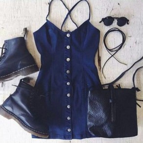 Blue Single Breasted Buttons Spaghetti Strap Jean Mini Dress