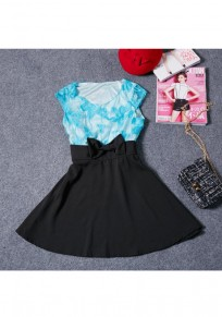 Black Patchwork Hollow-out Lace Bow Zipper Fashion Mini Dress