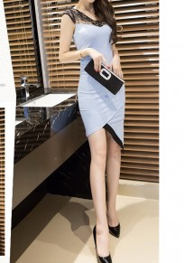 Light Blue Patchwork Hollow-out Lace Irregular Zipper Fashion Midi Dress