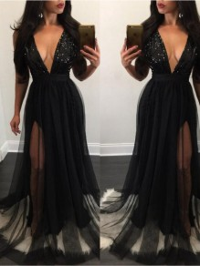 Black Patchwork Sequin Grenadine Condole Belt Plunging Neckline Maxi Dress