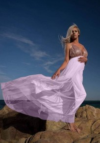 Pink Patchwork Sequin Grenadine Backless Spaghetti Strap High Waisted Deep V-neck Flowy Maxi Dress