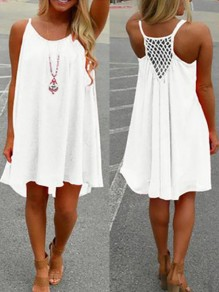 White Hollow-out Pleated Condole Belt Round Neck Casual Boho Midi Summer Dress