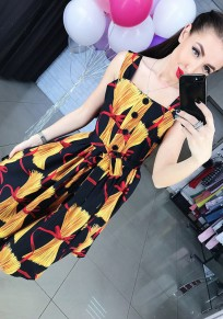 Yellow Floral Belt Single Breasted Pleated Square Neck Midi Dress