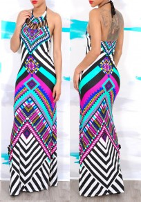 Rose Carmine Geometric Print Backless Tie Back Side Slit Vintage Maxi Dress