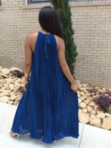 Royal Blue Pleated Tie Back Sleeveless Halter Neck A-line Bohemian Maxi Dress