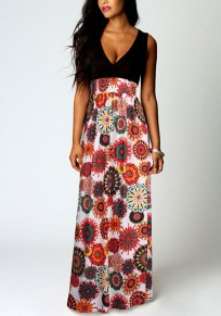 Black Red Patchwork Tribal Print High Waisted Deep V-neck Sleeveless Boho National Maxi Dress