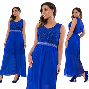 Blue Patchwork Lace Sashes Tie Back V-neck Elegant Maxi Dress