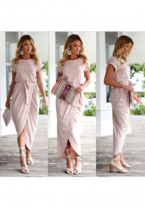 Pink Sashes Irregular Round Neck Short Sleeve Maxi Dress