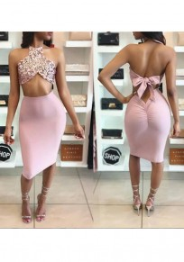 Rose Gold Patchwork Sequin Backless Bow Halter Neck Ruched High Waisted Two Piece Club Midi Dress